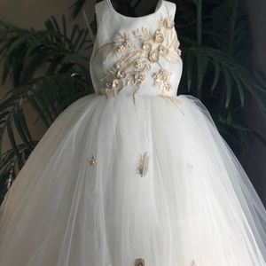 New flower girl dress in off white and beige